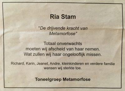 overlijdensadvertentie Ria Stam 2019